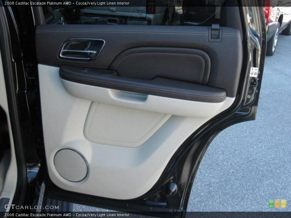 Cocoa/Very Light Linen Interior Door Panel for the 2008 Cadillac Escalade Platinum AWD #39171774