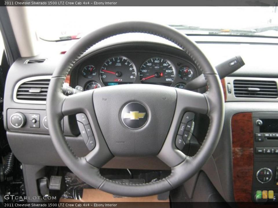 Ebony Interior Steering Wheel for the 2011 Chevrolet Silverado 1500 LTZ Crew Cab 4x4 #41646671