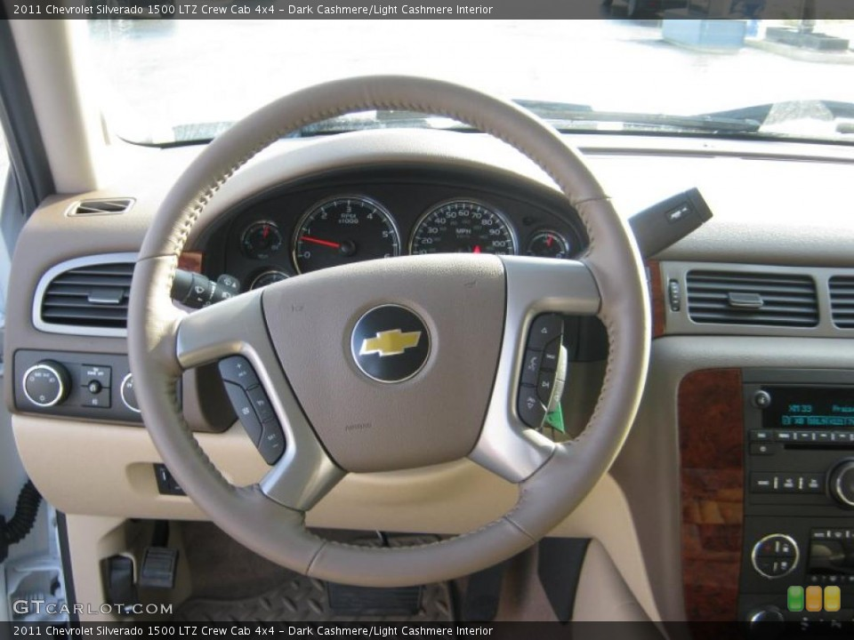 Dark Cashmere/Light Cashmere Interior Steering Wheel for the 2011 Chevrolet Silverado 1500 LTZ Crew Cab 4x4 #41837824