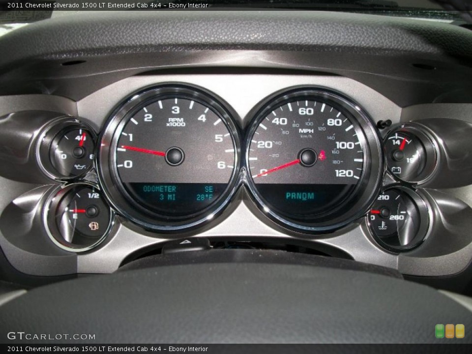 Ebony Interior Gauges for the 2011 Chevrolet Silverado 1500 LT Extended Cab 4x4 #43084756