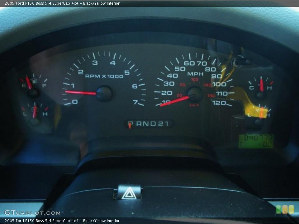 Black/Yellow Interior Gauges for the 2005 Ford F150 Boss 5.4 SuperCab 4x4 #46287772
