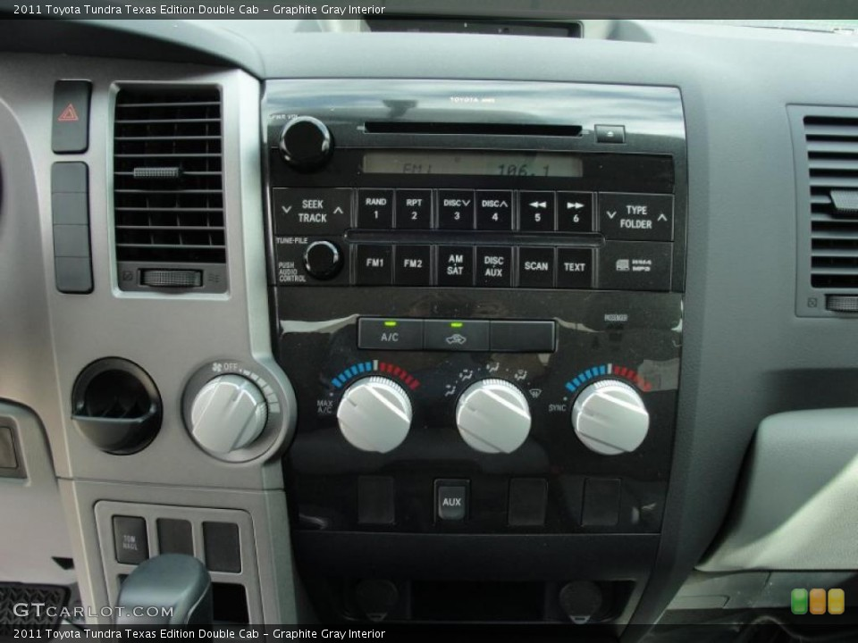 Graphite Gray Interior Controls for the 2011 Toyota Tundra Texas Edition Double Cab #46422300