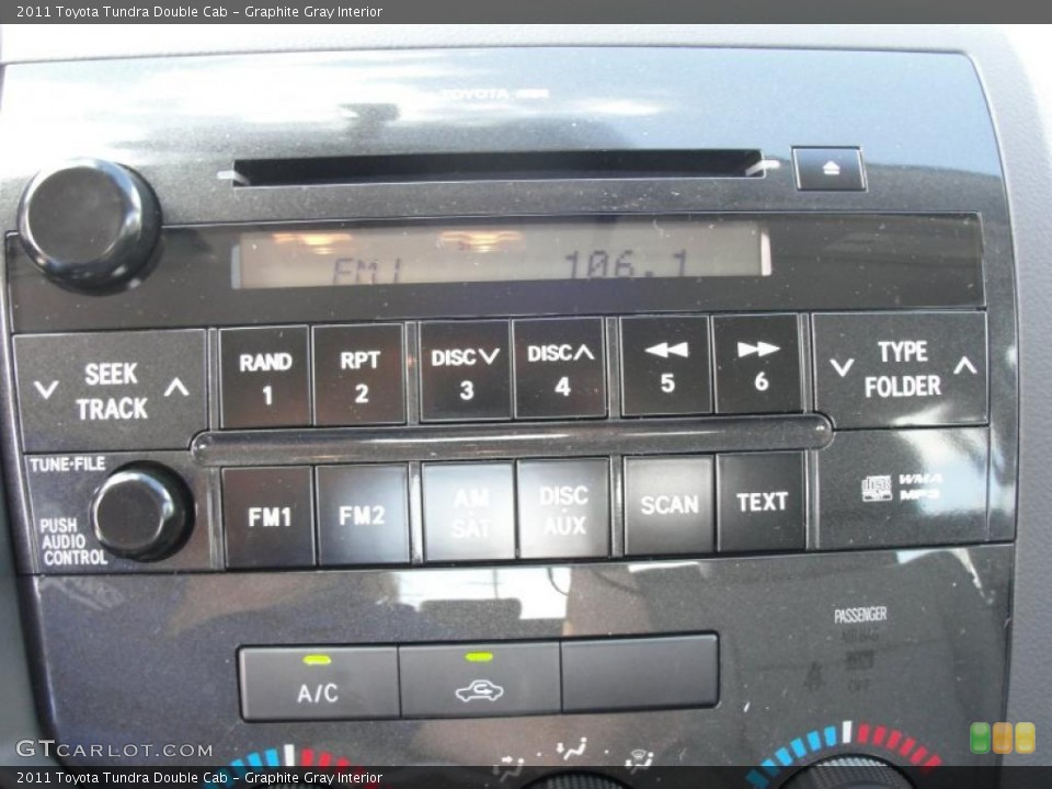 Graphite Gray Interior Controls for the 2011 Toyota Tundra Double Cab #46975818