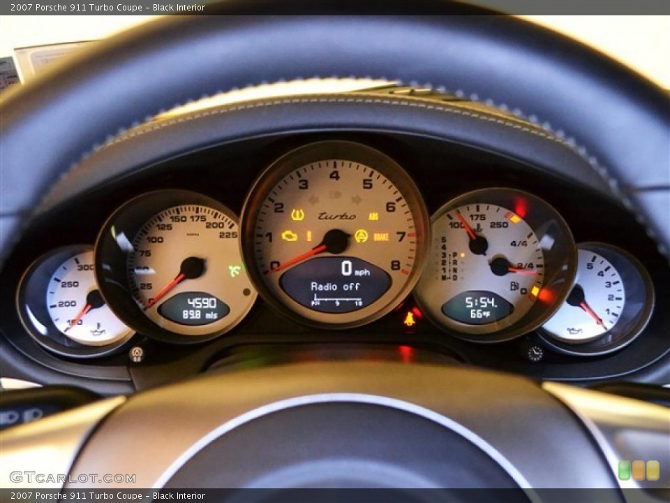 Black Interior Gauges for the 2007 Porsche 911 Turbo Coupe #48277543
