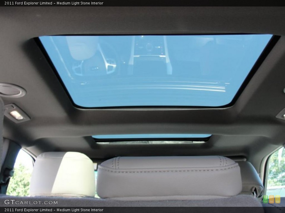 Medium Light Stone Interior Sunroof for the 2011 Ford Explorer Limited #48820227