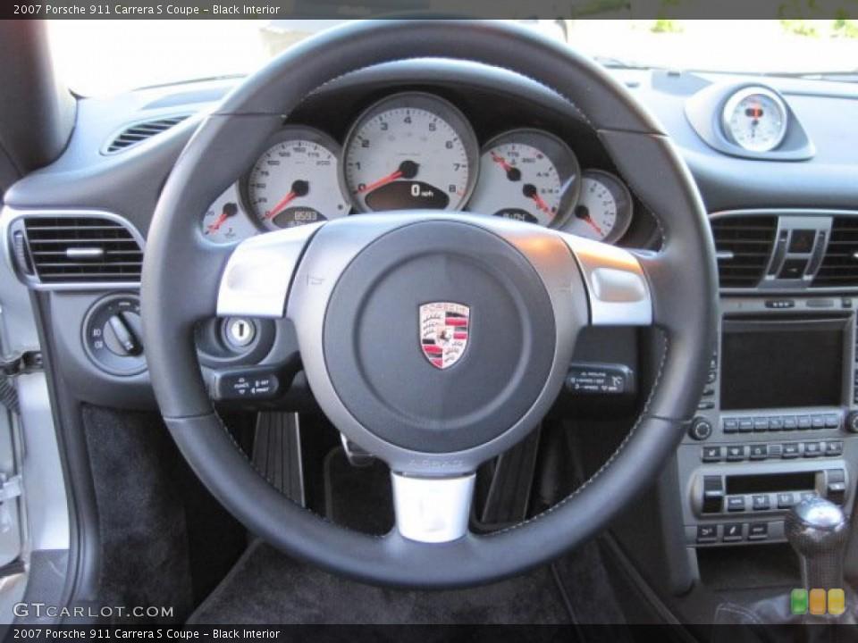 Black Interior Steering Wheel for the 2007 Porsche 911 Carrera S Coupe #49105913