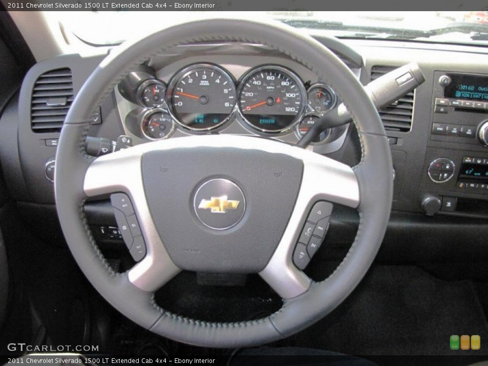 Ebony Interior Steering Wheel for the 2011 Chevrolet Silverado 1500 LT Extended Cab 4x4 #49653926