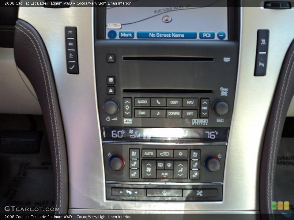 Cocoa/Very Light Linen Interior Controls for the 2008 Cadillac Escalade Platinum AWD #49861037