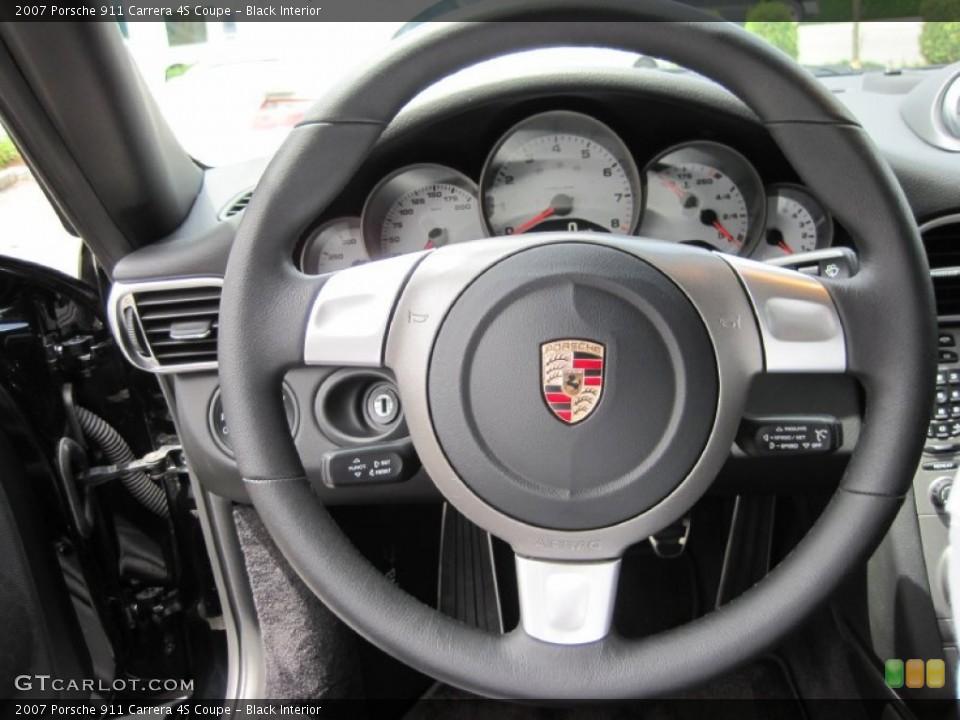 Black Interior Steering Wheel for the 2007 Porsche 911 Carrera 4S Coupe #50528662