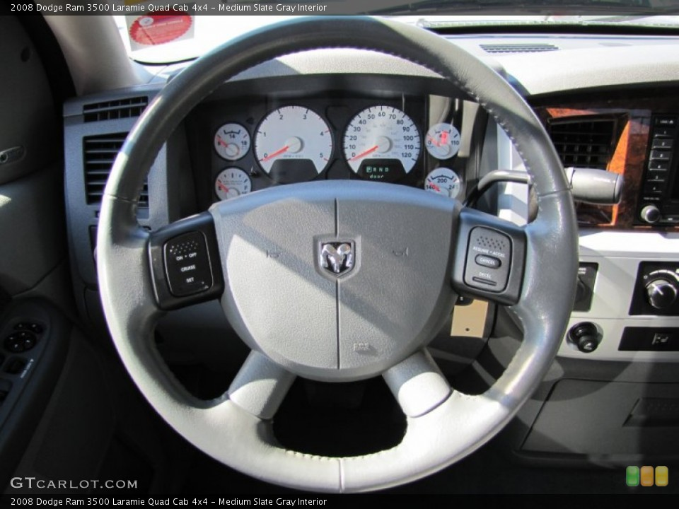 Medium Slate Gray Interior Steering Wheel for the 2008 Dodge Ram 3500 Laramie Quad Cab 4x4 #50911444