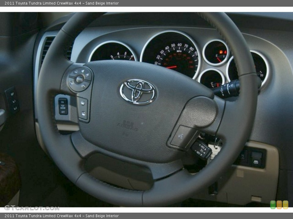 Sand Beige Interior Steering Wheel for the 2011 Toyota Tundra Limited CrewMax 4x4 #51251222
