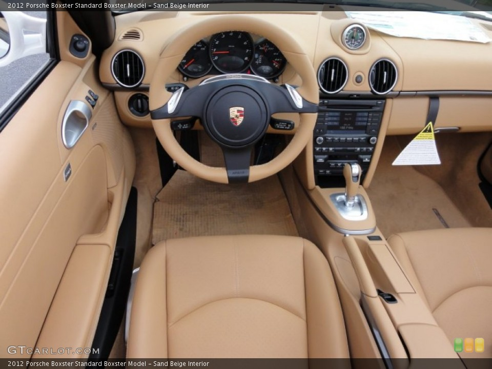 Interior photos of the 2012 Porsche Boxster in Sand Beige