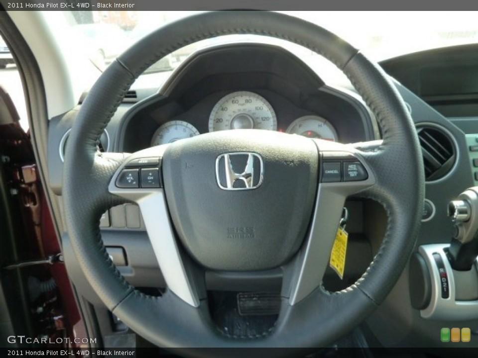 Black Interior Steering Wheel for the 2011 Honda Pilot EX-L 4WD #52474040