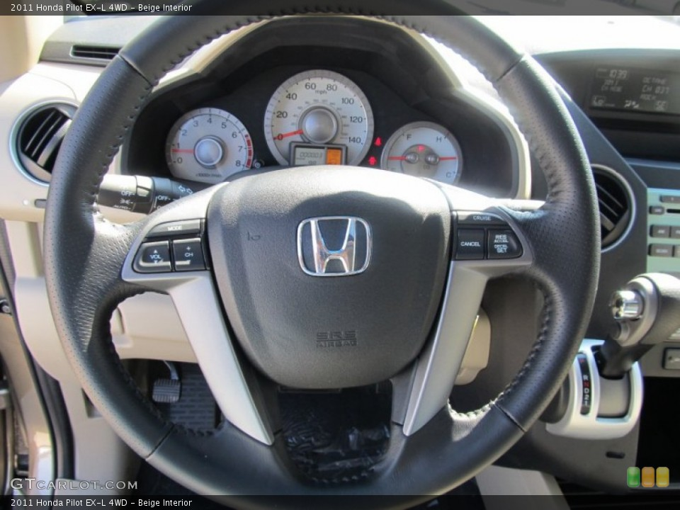 Beige Interior Steering Wheel for the 2011 Honda Pilot EX-L 4WD #53067019
