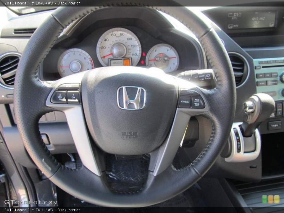Black Interior Steering Wheel for the 2011 Honda Pilot EX-L 4WD #53067292