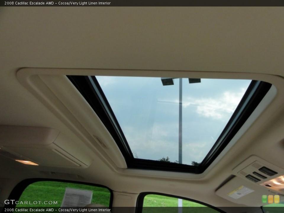 Cocoa/Very Light Linen Interior Sunroof for the 2008 Cadillac Escalade AWD #53648506
