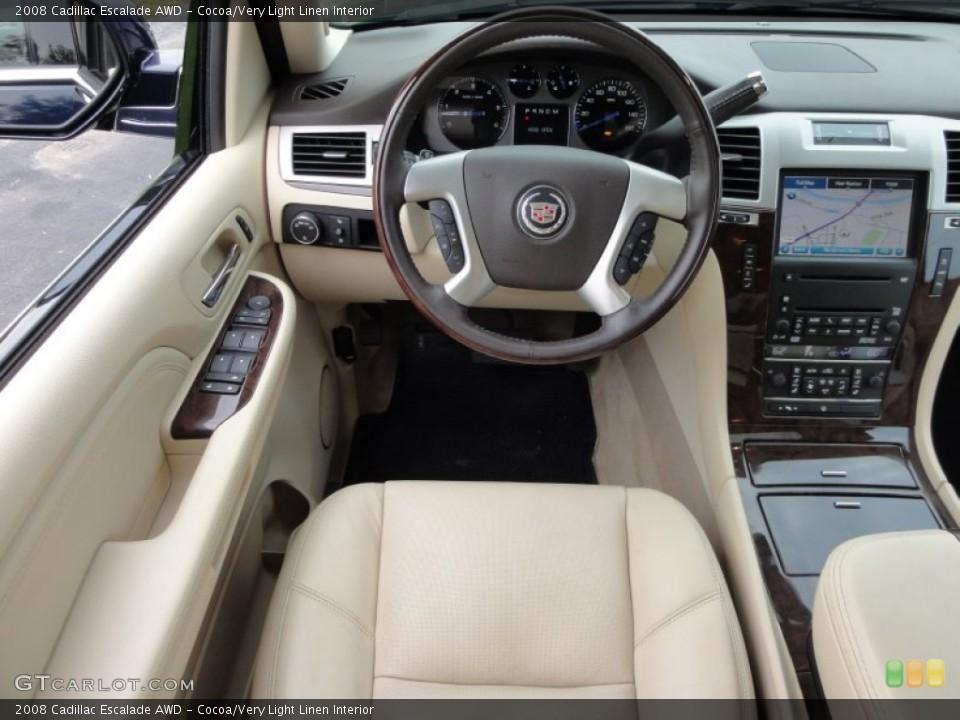 Cocoa/Very Light Linen Interior Steering Wheel for the 2008 Cadillac Escalade AWD #53648642