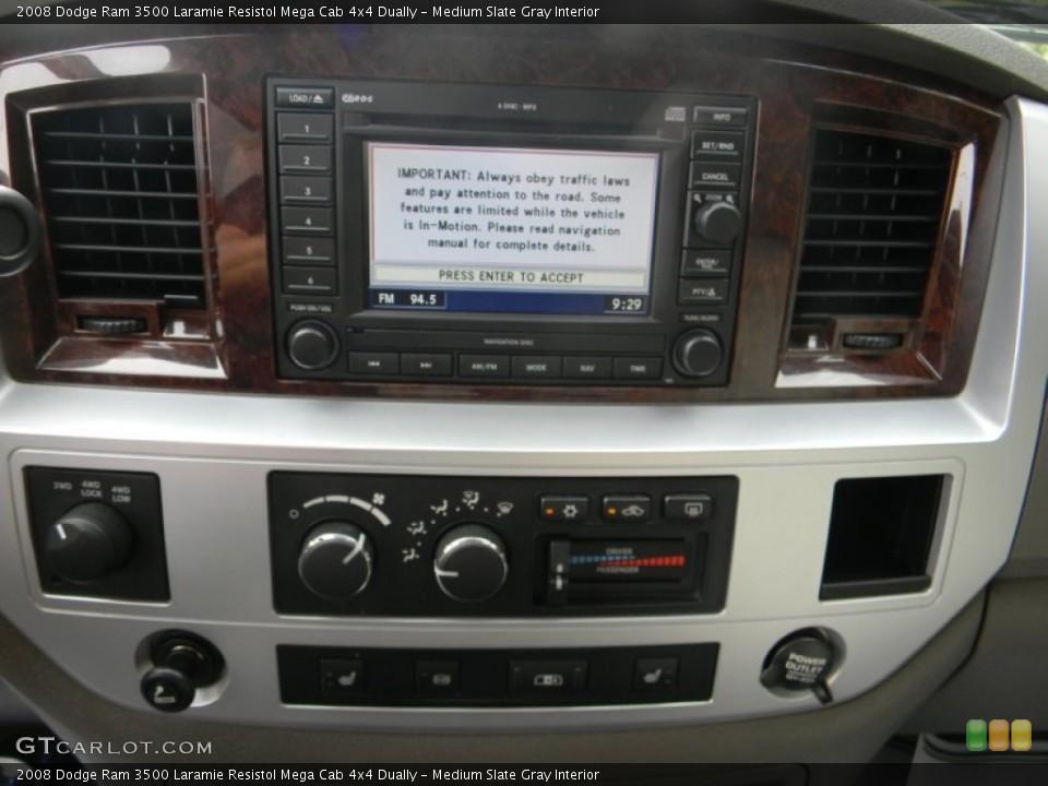 Medium Slate Gray Interior Controls for the 2008 Dodge Ram 3500 Laramie Resistol Mega Cab 4x4 Dually #54443829