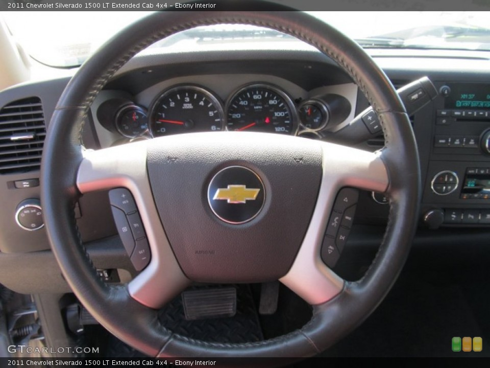 Ebony Interior Steering Wheel for the 2011 Chevrolet Silverado 1500 LT Extended Cab 4x4 #55035775