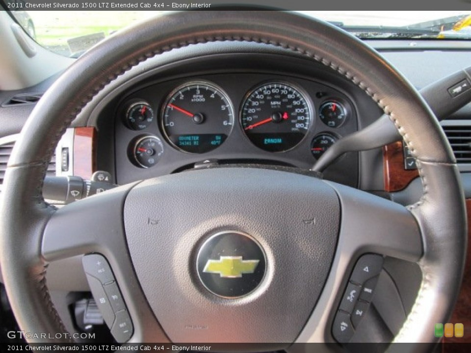 Ebony Interior Steering Wheel for the 2011 Chevrolet Silverado 1500 LTZ Extended Cab 4x4 #55791628