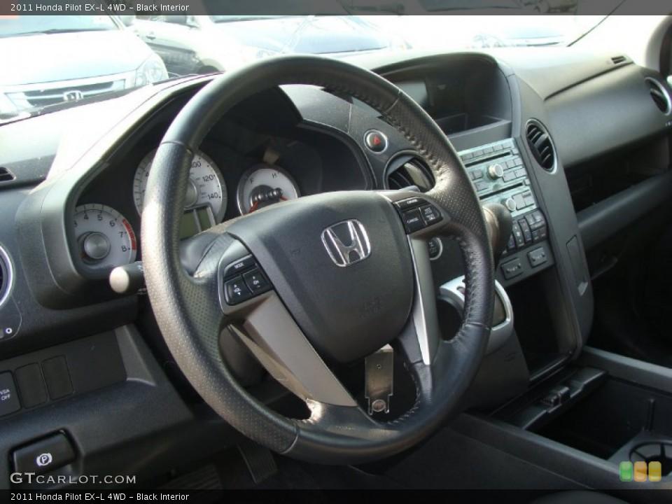 Black Interior Steering Wheel for the 2011 Honda Pilot EX-L 4WD #55876828