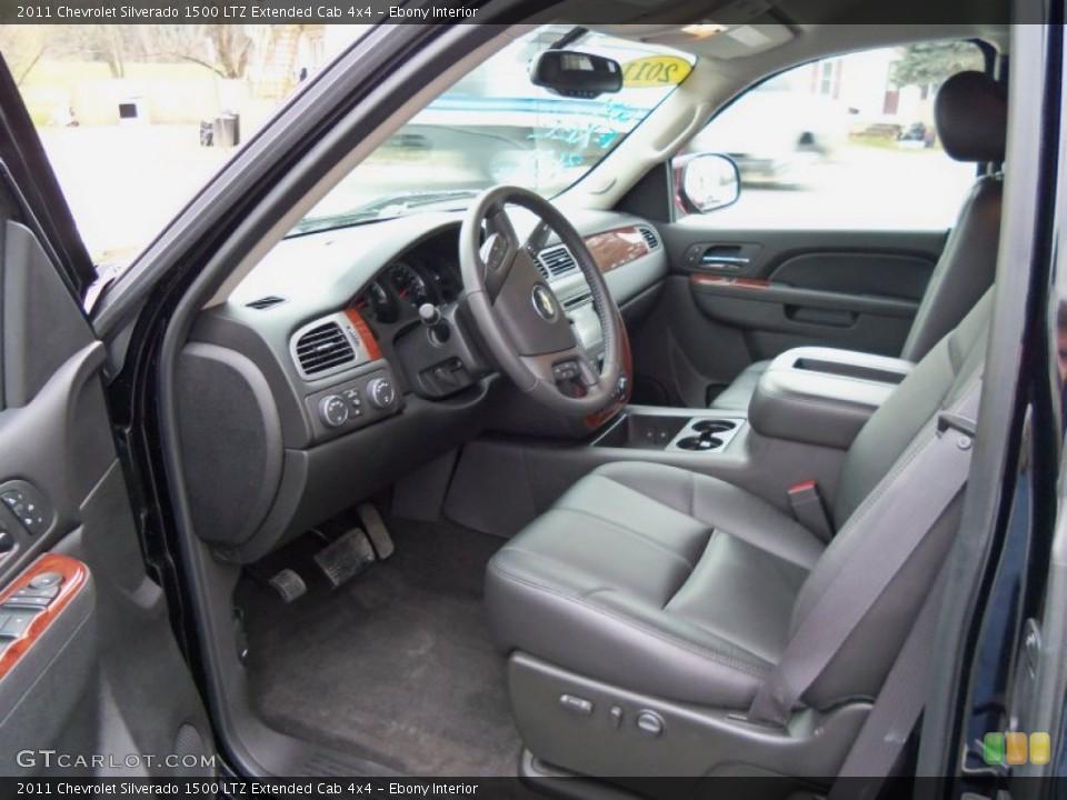 Ebony Interior Photo for the 2011 Chevrolet Silverado 1500 LTZ Extended Cab 4x4 #56500632