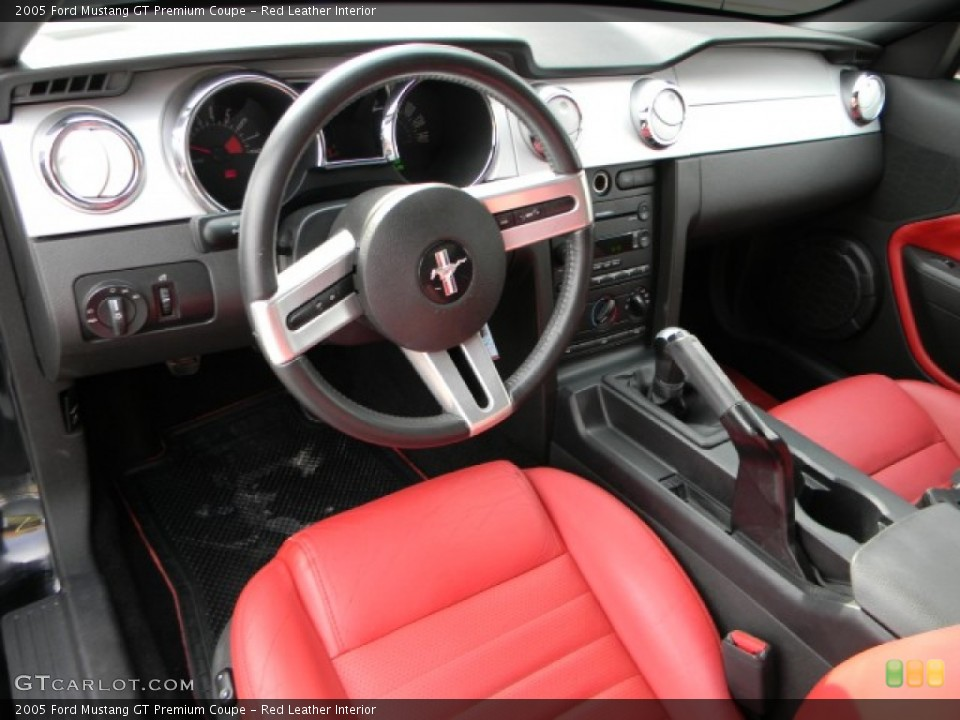 Red Leather 2005 Ford Mustang Interiors