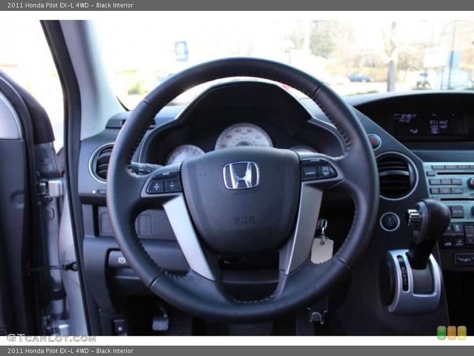 Black Interior Steering Wheel for the 2011 Honda Pilot EX-L 4WD #57767664