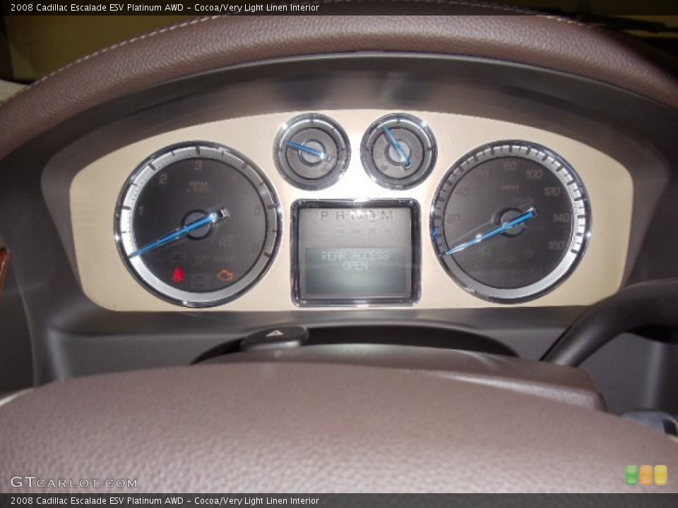 Cocoa/Very Light Linen Interior Gauges for the 2008 Cadillac Escalade ESV Platinum AWD #59039170