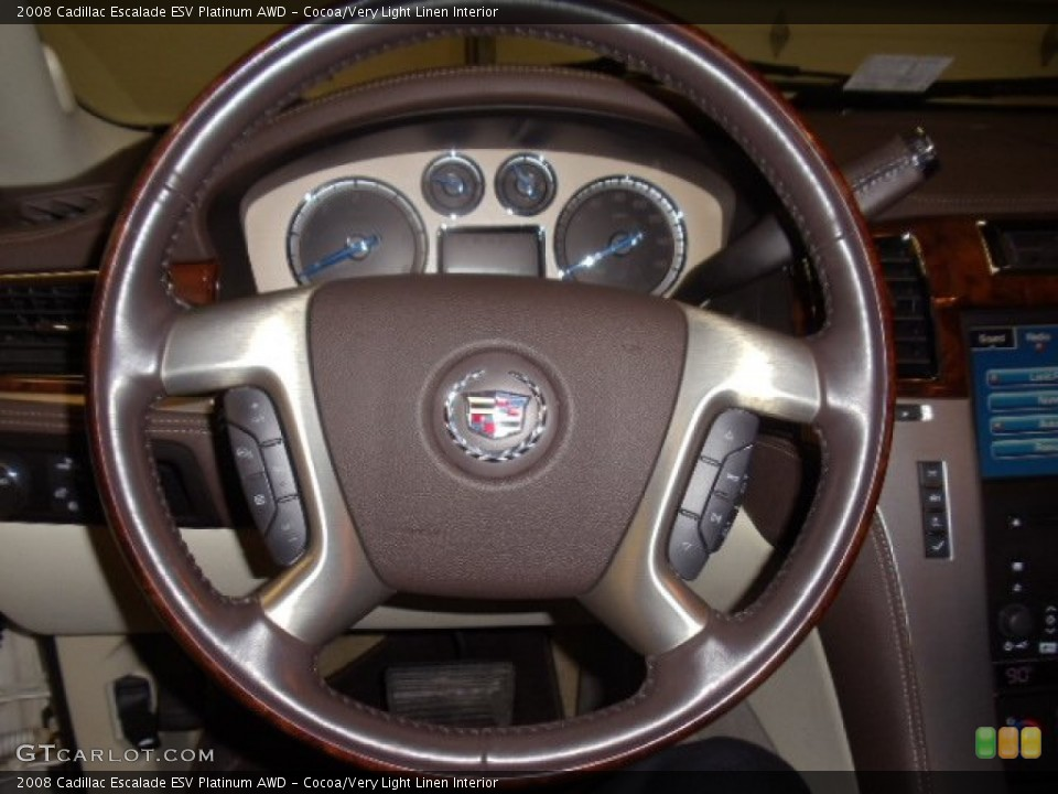 Cocoa/Very Light Linen Interior Steering Wheel for the 2008 Cadillac Escalade ESV Platinum AWD #59039200