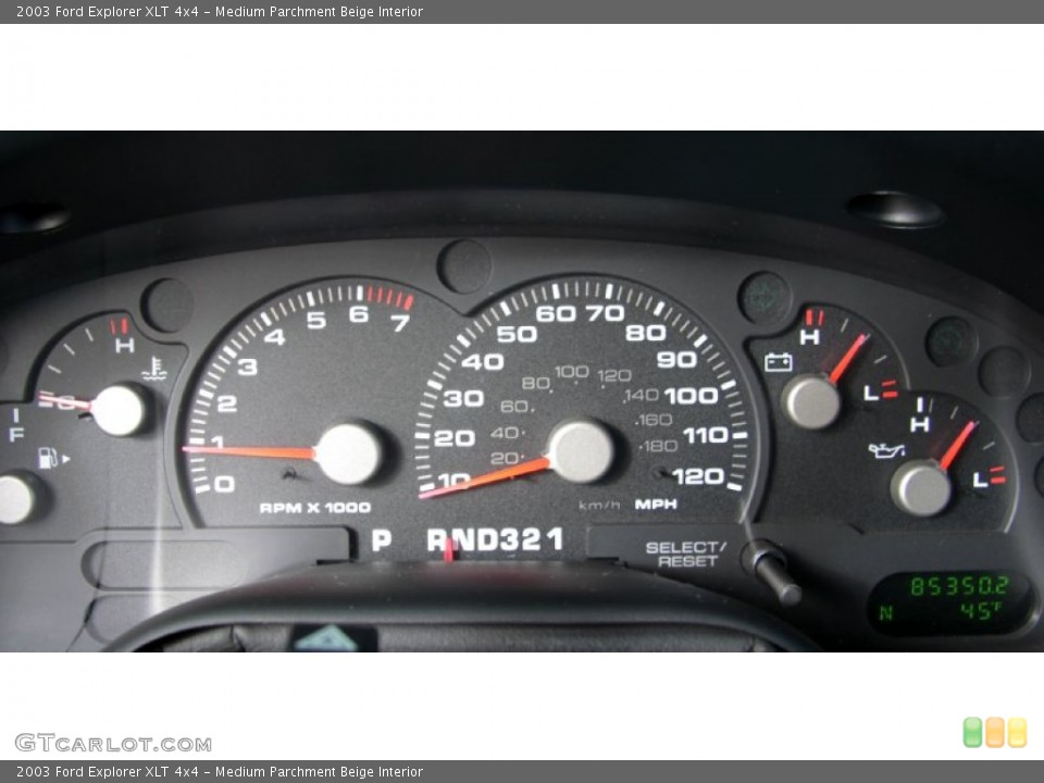 Medium Parchment Beige Interior Gauges for the 2003 Ford Explorer XLT 4x4 #60370662