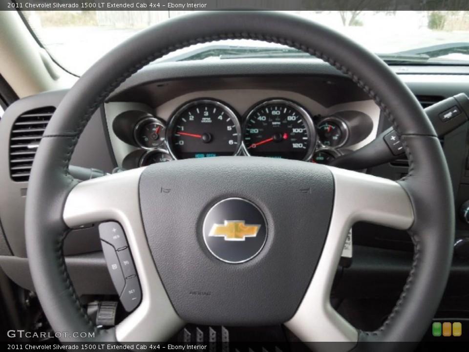 Ebony Interior Steering Wheel for the 2011 Chevrolet Silverado 1500 LT Extended Cab 4x4 #60964182