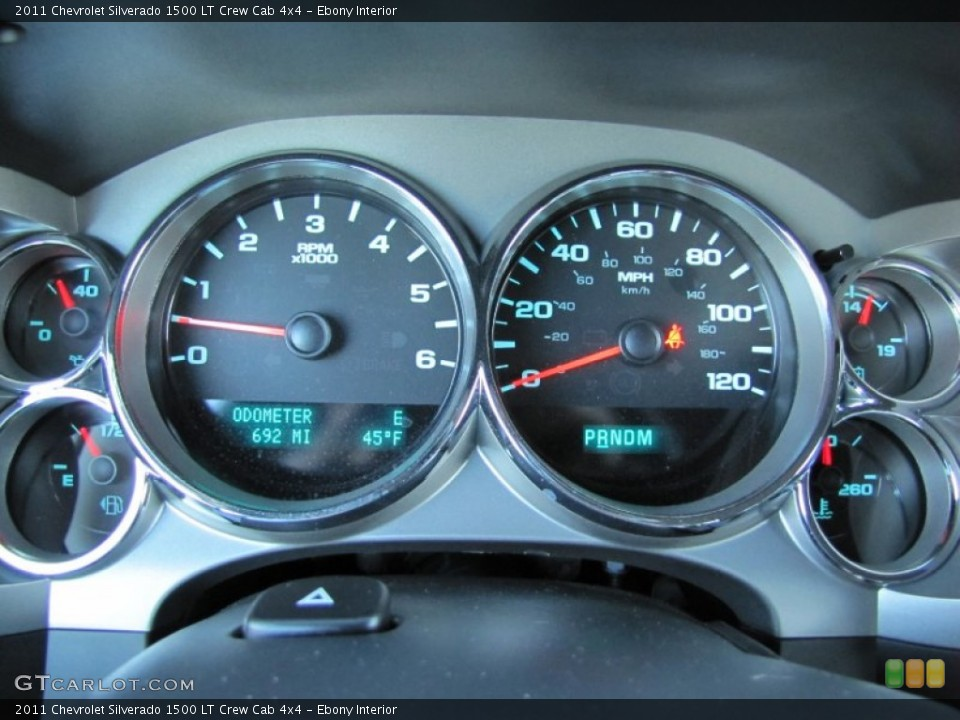Ebony Interior Gauges for the 2011 Chevrolet Silverado 1500 LT Crew Cab 4x4 #60983179