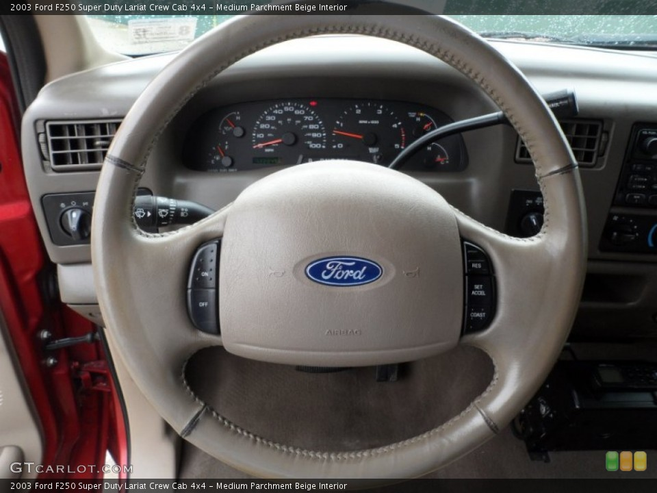 Medium Parchment Beige Interior Steering Wheel for the 2003 Ford F250 Super Duty Lariat Crew Cab 4x4 #61569342
