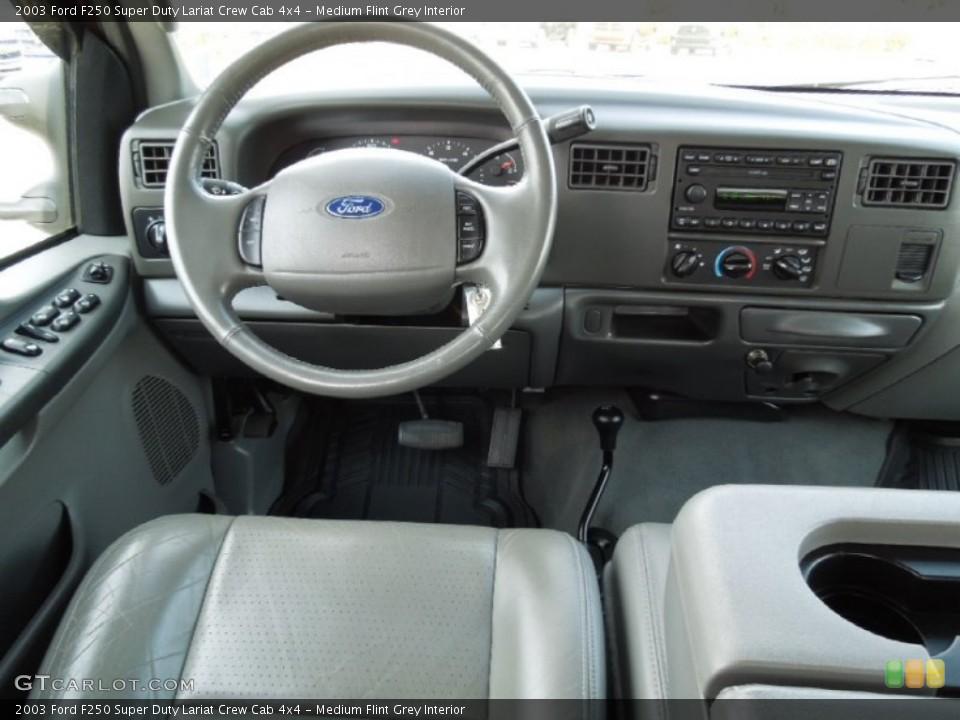 Medium Flint Grey Interior Dashboard for the 2003 Ford F250 Super Duty Lariat Crew Cab 4x4 #63024419