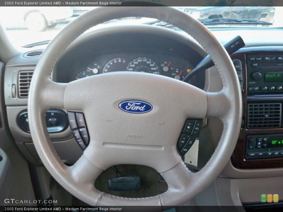 Medium Parchment Beige Interior Steering Wheel for the 2003 Ford Explorer Limited AWD #63048989