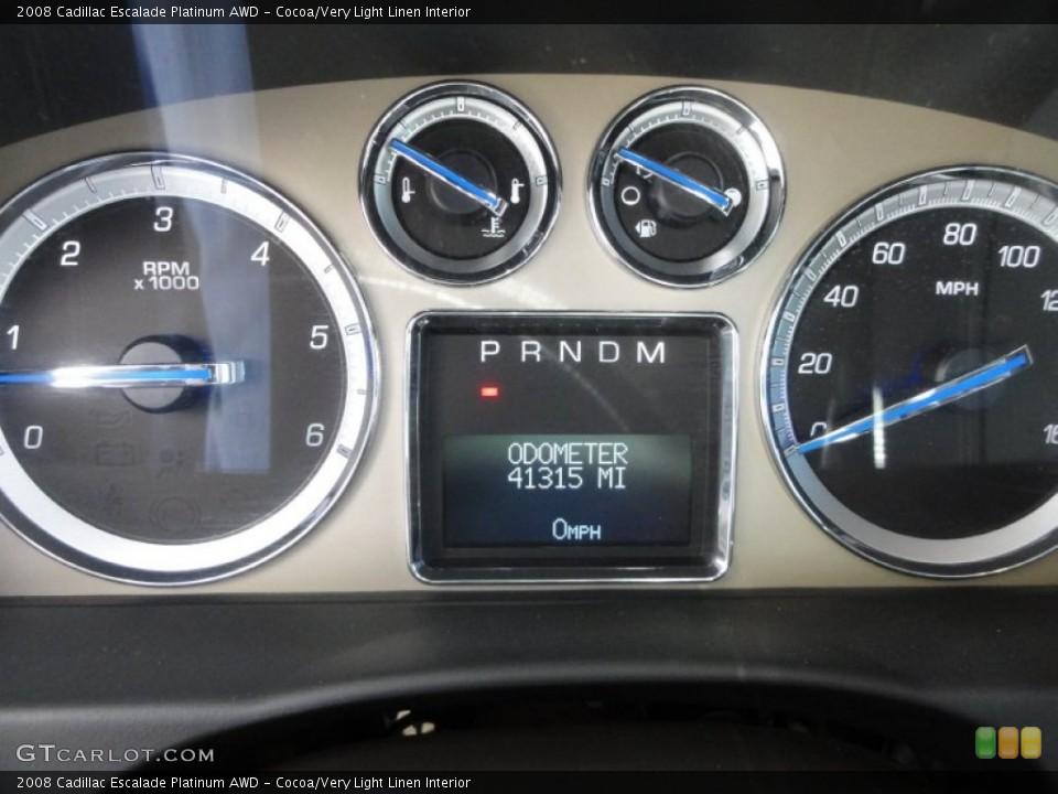 Cocoa/Very Light Linen Interior Gauges for the 2008 Cadillac Escalade Platinum AWD #63433457