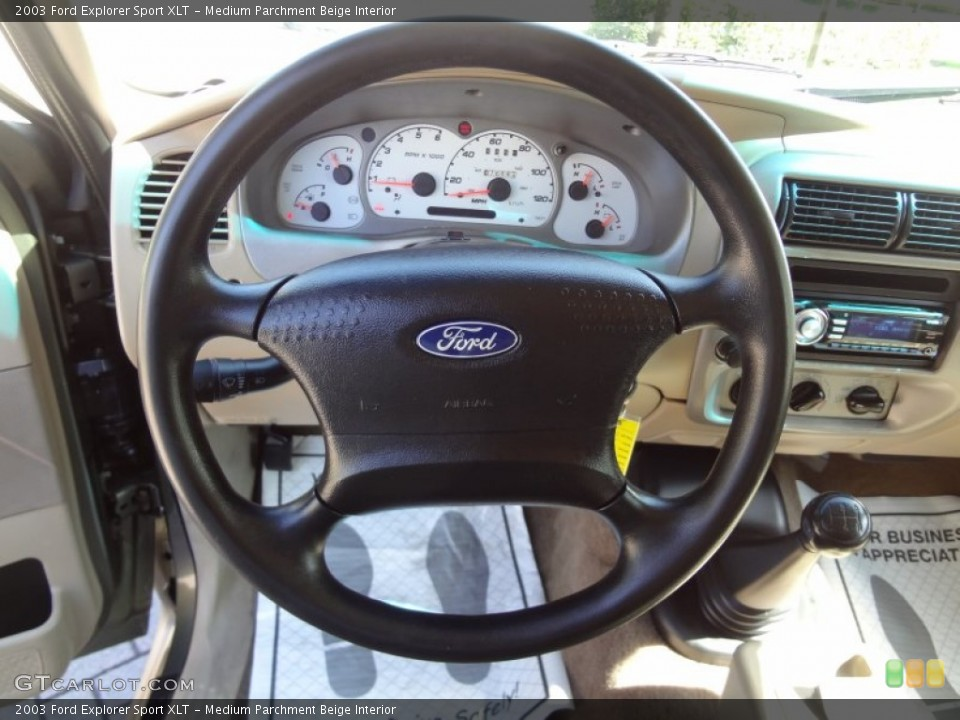 Medium Parchment Beige Interior Steering Wheel for the 2003 Ford Explorer Sport XLT #66438487