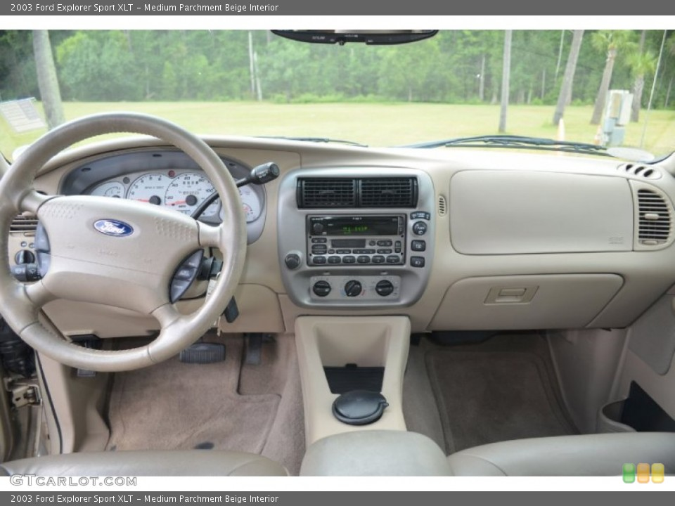 Medium Parchment Beige Interior Dashboard for the 2003 Ford Explorer Sport XLT #67640877