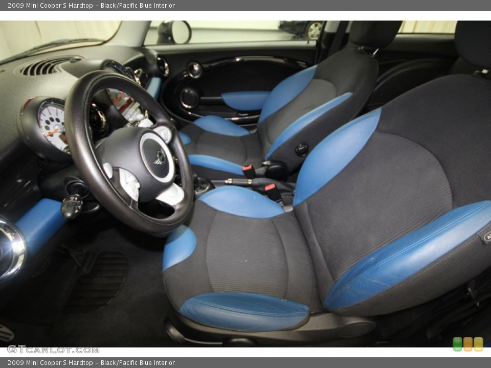 Black/Pacific Blue 2009 Mini Cooper Interiors