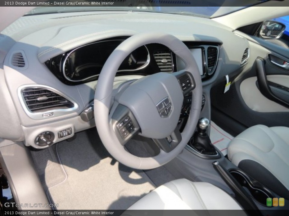 Diesel Gray/Ceramic White 2013 Dodge Dart Interiors