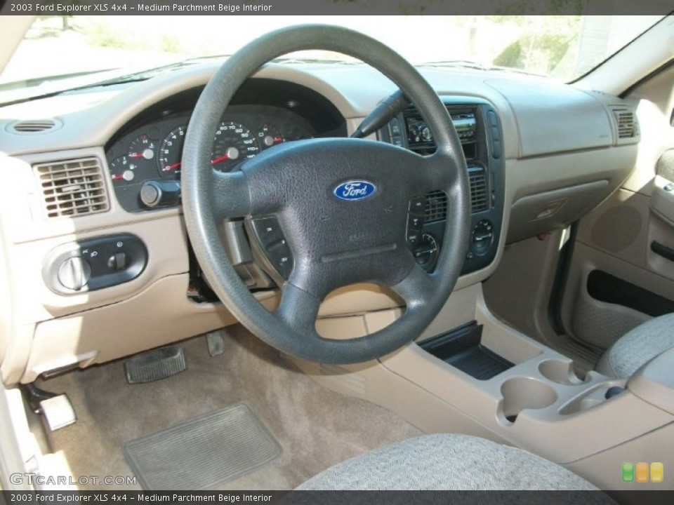 Medium Parchment Beige Interior Dashboard for the 2003 Ford Explorer XLS 4x4 #70158299