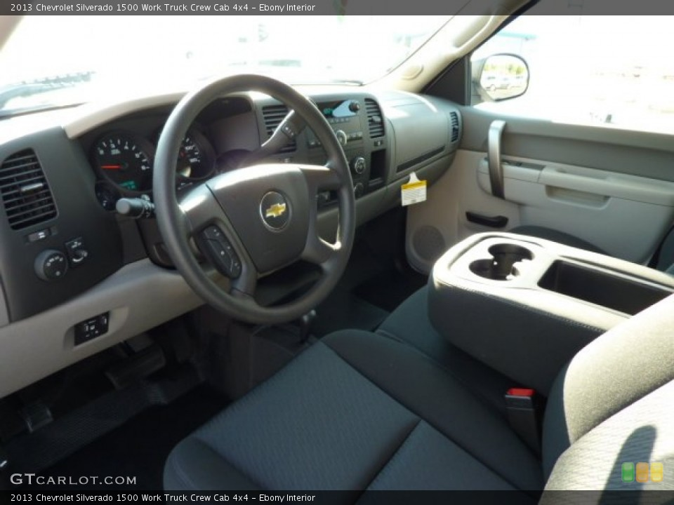 Ebony Interior Prime Interior for the 2013 Chevrolet Silverado 1500 Work Truck Crew Cab 4x4 #70837590