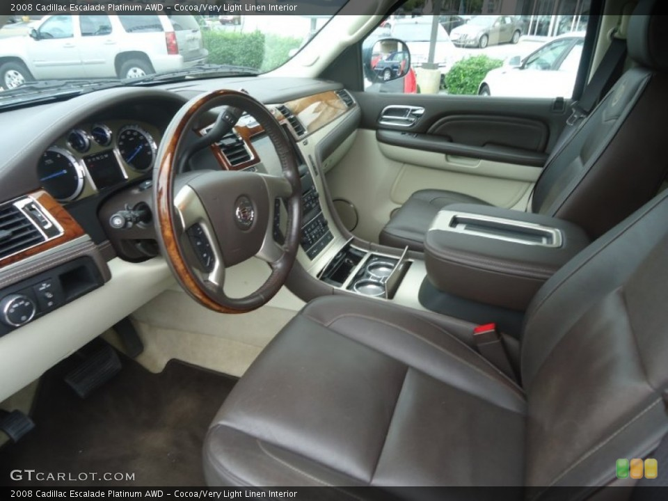 Cocoa/Very Light Linen 2008 Cadillac Escalade Interiors