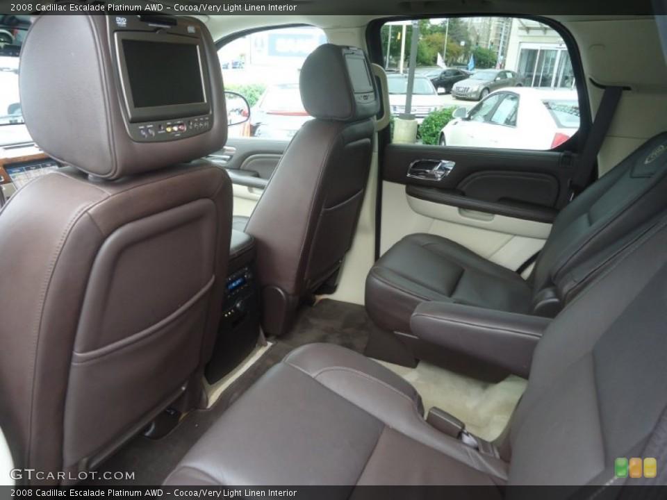 Cocoa/Very Light Linen Interior Rear Seat for the 2008 Cadillac Escalade Platinum AWD #71603022