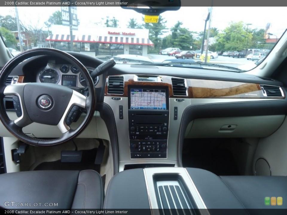 Cocoa/Very Light Linen Interior Dashboard for the 2008 Cadillac Escalade Platinum AWD #71603034