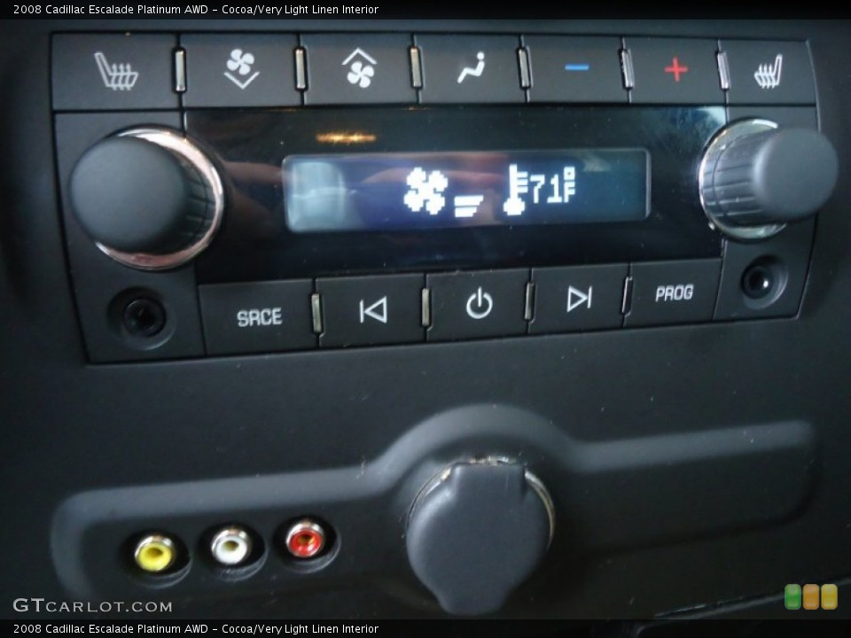 Cocoa/Very Light Linen Interior Controls for the 2008 Cadillac Escalade Platinum AWD #71603052