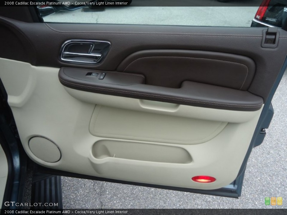 Cocoa/Very Light Linen Interior Door Panel for the 2008 Cadillac Escalade Platinum AWD #71603247