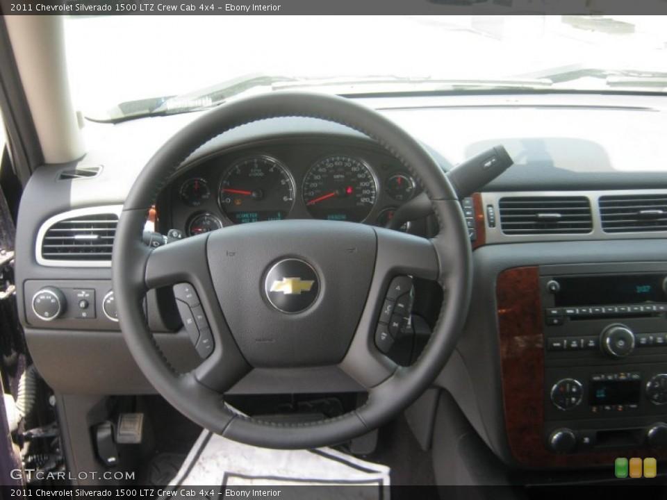 Ebony Interior Steering Wheel for the 2011 Chevrolet Silverado 1500 LTZ Crew Cab 4x4 #72076203