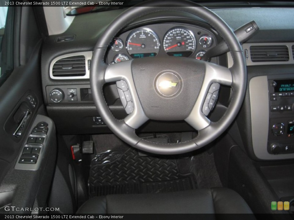 Ebony Interior Steering Wheel for the 2013 Chevrolet Silverado 1500 LTZ Extended Cab #72317404